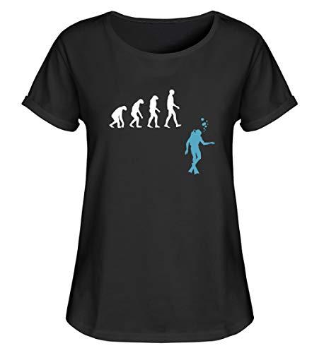 Shirtzshop - Maglietta a maniche corte con evoluzione di immersioni, stile retrò, da donna Nero M