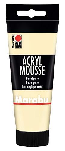 Marabu 12050050222 - Acryl Mousse vanille 100 ml, leichte Pastell - Acrylpaste auf Wasserbasis, luftige Konsistenz, zum Auftrag mit Malmesser und Pinsel auf Keilrahmen, Holz, Papier und Metall