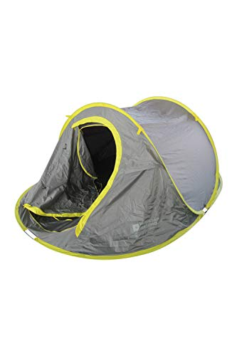 Mountain Warehouse Pop Up Tent with Groundsheet - 3 Man Camping Tent, Water Resistant Family Tent, Double Skin, Easy Pitch, Lightweight Sleeping Tent - For Festivals Grey
