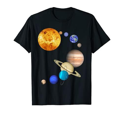Planeten im Sonnensystem mit Pluto - Raum T-Shirt