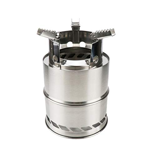 Fewear Portable Camping Hiking and Survival Stove,Camping Stove Stainless Steel Backpacking Stove Potable Wood Burning Stoves for Picnic BBQ Camp Hiking (A)