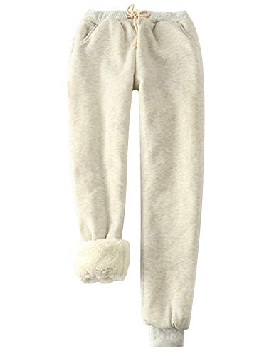 Yeokou Women's Warm Sherpa Lined Athletic Sweatpants Joggers Fleece Pants (Small, Light Grey)