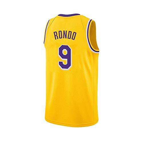 HuLei-Outdoor Maglia da Basket NBA Rajon Rondo Allenamento Sportivo da Uomo Nuova Maglia Confortevole XS-XXL Giallo, L