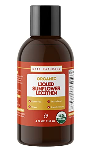 Organic Liquid Sunflower Lecithin 4oz by Kate Natural. Vegan & Gluten-Free. Premium Liquid Sunflower Lecithin in Convenient Resealable Container. Ideal for Cooking & Baking.