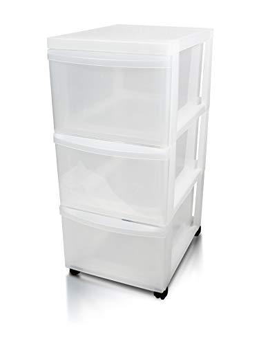 IRIS, Schubladenschrank / Schubladenbox / Rollwagen / Rollcontainer / Werkzeugschrank 'Drawer Chest', DC-303, mit Rollen, Plastik, frostweiß