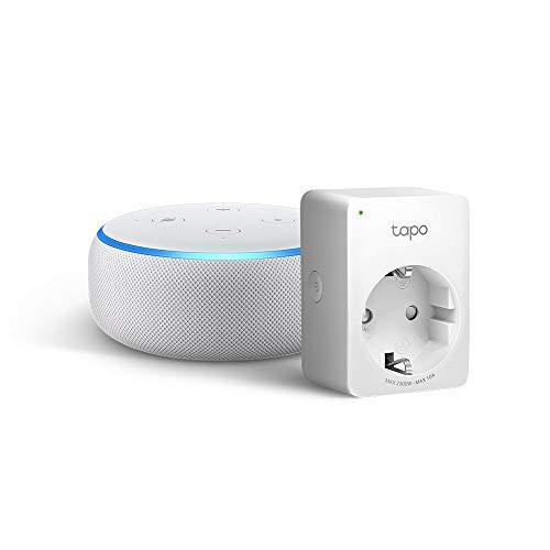 Echo Dot (3. Gen.), Sandstein Stoff + Tapo P100 Smarte WLAN Steckdose, funktioniert mit Alexa