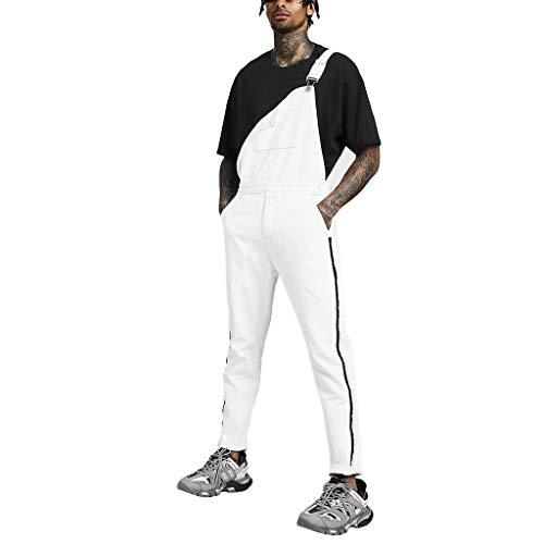 LQQSTORE Herren Hose Taschen Denim Overall Jumpsuit Streetwear Overall Suspender Herbst Winter (Weiß, L)