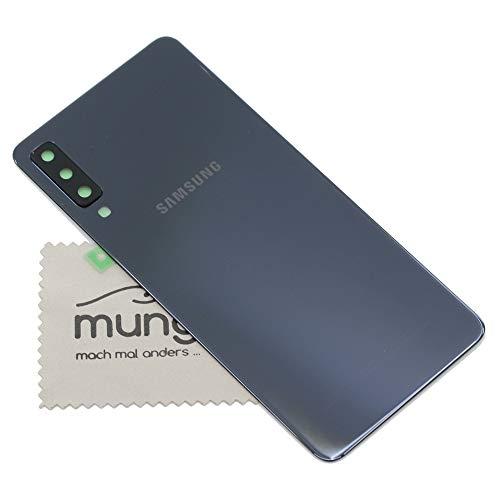 Preisvergleich Produktbild Akkudeckel für Samsung Original für Samsung Galaxy A7 2018 A750F Back Cover Rückwand schwarz mit mungoo Displayputztuch