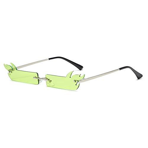 Único Gafas de Sol Sunglasses Gafas De Sol De Llama De Fuego A La Moda para Mujer, Gafas De Sol Sin Montura, Gafas De So