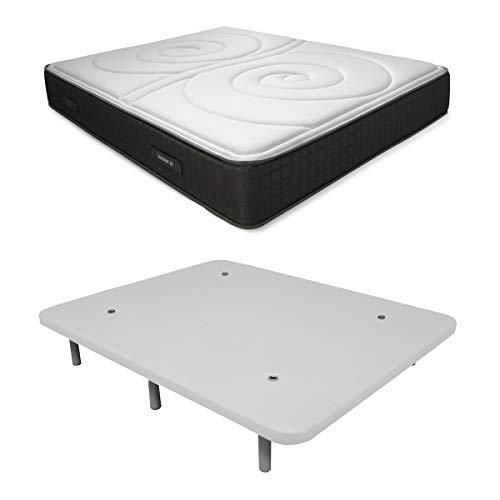 Duérmete Online Pack Ahorro Cama Completa Colchón Viscoelástico Visco Duo Reversible + Base tapizada 3D Reforzada, 5 Barras de Refuerzo y válvulas de ventilación con 6 Patas, Blanco, 135x180