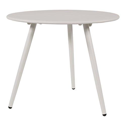 lifestyle4living Beistelltisch aus Metall in weiß, Gartentisch rund 45x45 cm, dreibeinig, wetterfest. Ideal als Garten, Balkon-Tisch & Terrassentisch.