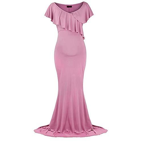 IBTOM CASTLE Schwangerschaftskleid Umstandskleid Maxi Kleider für Schwangere Damen Schulterfreies Elegante Fotografie Hochzeit Langes Abendkleid Schwangerschafts Krankenpflege Rosa XL