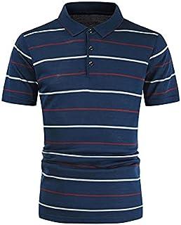 Fbnzmluqdx Tshirt for Men Stripe T-Shirts Men's Summer Slim Casual Fit Single-Breasted Short Sleeve Lapel T-shirt Top Offi...