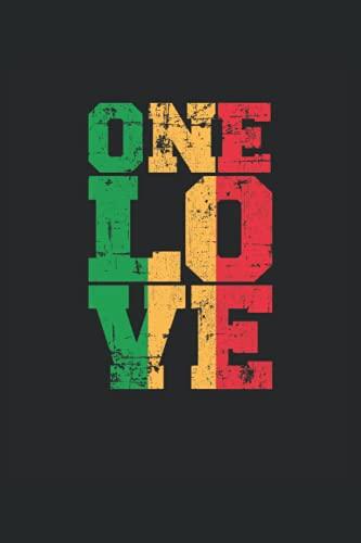 "One Love Reggae Rasta Rastafari Jamaica Música: Cuaderno | Cuadriculado | A cuadros (6 ""x9"" (15,24 x 22,86 cm)), 120 páginas, papel crema, cubierta mate"