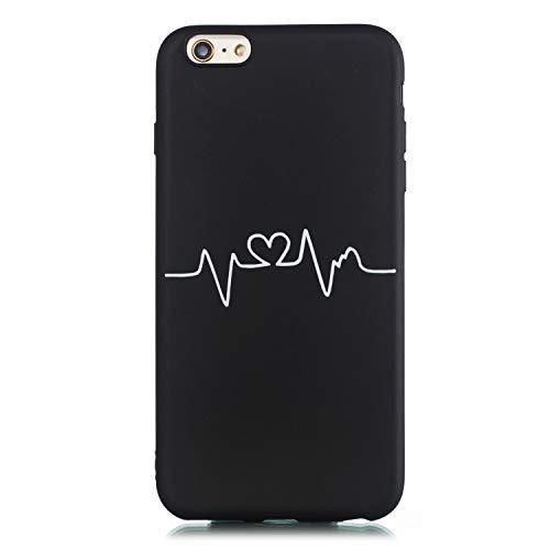 CUAgain Cover Compatibile per iPhone 6s Plus/iPhone 6 Plus Silicone Disegni Motivo Nero Gomma Antiurto Case iPhone 6s Plus Ultrasottile Resistente Bumper Custodia per Uomo Donna,Curva del Cuore