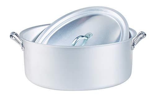 Ollas Agnelli Oval cazuela con Dos Asas y Tapa, BLTF Aluminio con Acabado Mate, Plata, 32 cm