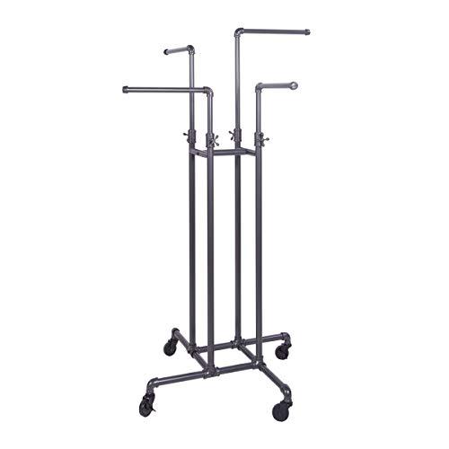 Clothing Rack Econoco - Heavy Duty Pipeline Adjustable 4 Way Rack Plumbing Pipe Clothes Rack Anthracite Grey