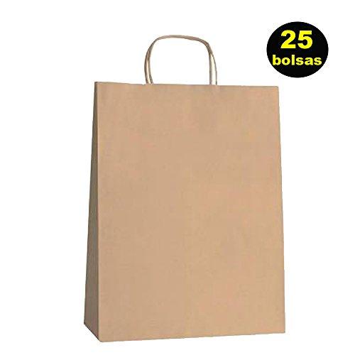Yearol K01 25 Bolsas papel kraft asa rizada reutilizables