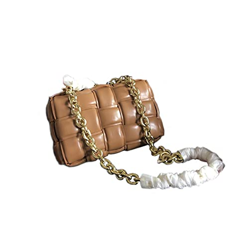 EvaLuLu Genuine Leather Woven Chain Bag Women Shoulder Bag Designer Bag with Gold Chain (Medium, Brown)