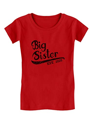 Girls Big Sister Est 2020 Sibling Gifts Toddler Kids Girls' Fitted T-Shirt M (7-8) Red