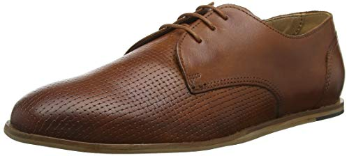H by Hudson CRAYFORD Leather, Zapatos de Cordones Derby para Hombre, Marrón (Tan 24), 43 EU