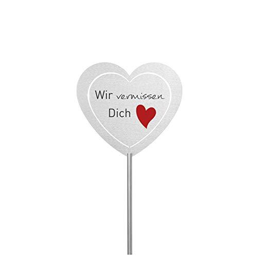 Fritz Cox® - Grabstecker 'Vermissen'; Grabschmuck wetterfest, in Liebe für einen geliebten Menschen; eine Erinnerung aus Edelstahl - ideal auch für EIN Urnen-Grab (Wir vermissen Dich (Herz), Herz)
