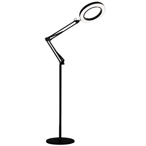 Led-vloerlamp, cosmeticalamp, vergrootglas met verstelbaar licht, licht voor lezen, knutselen en werken, hoek en hoogte verstelbaar