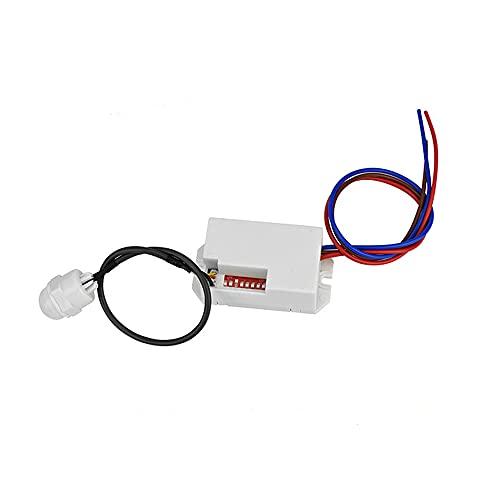 1 mini detector de movimiento PIR, 800 W, sensor de movimiento PIR, para interiores, alcance de luz de 8 m, LED ajustable 360 grados, detector de movimiento por infrarrojos