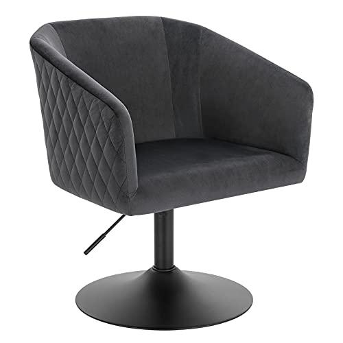 WOLTU 1x Barsessel Barhocker Loungesessel 360° Drehsessel Essenzimmerstuhl mit Armlehne stufenlose höhenverstellbar Samt Dunkelgrau BH299dgr-1