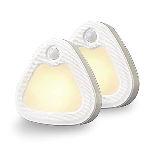 SOLIDEE LED Nachtlicht mit Bewegungsmelder & Dämmerungssensor 3200k (Warmweiß) Triangle Schrankbeleuchtung Lampe für Kinderzimmer Schlafzimmer Gang Toilette (2 Stück)
