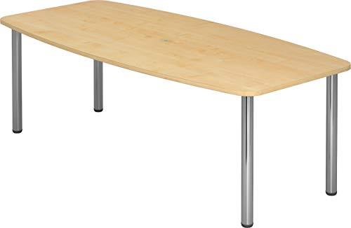 bümö® Konferenztisch rund oval 220 x 103 cm in Ahorn | Besprechungstisch mit Chromfüße | hochwertiger Meetingtisch