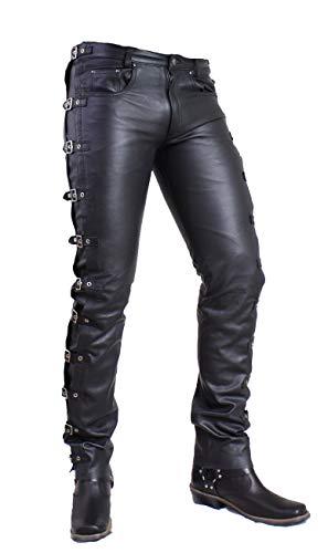 Unbekannt TiMu - Herren Lederhose/Lederjeans mit Schnallen aus echtem gewachstem Rinds Leder in schwarz (Schwarz, 40 Inch)