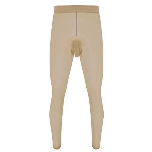 iEFiEL Herren Lange Unterhosen Unterwäsche offene/geschlossene Transparent Strumpfhose Legging Leggin Underwear Panty Schwarz Hautfarben B Nude (Offen) One Size