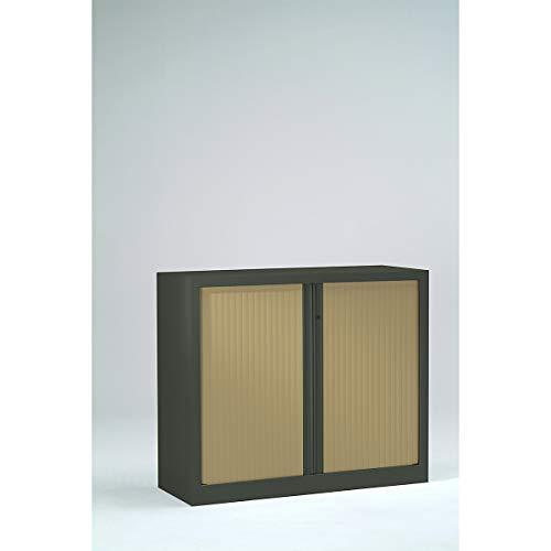 Armoire Monobloc à rideaux | Anthracite | Chêne Clair| HxLxP 1000 x 1000 x 430 | Certeo