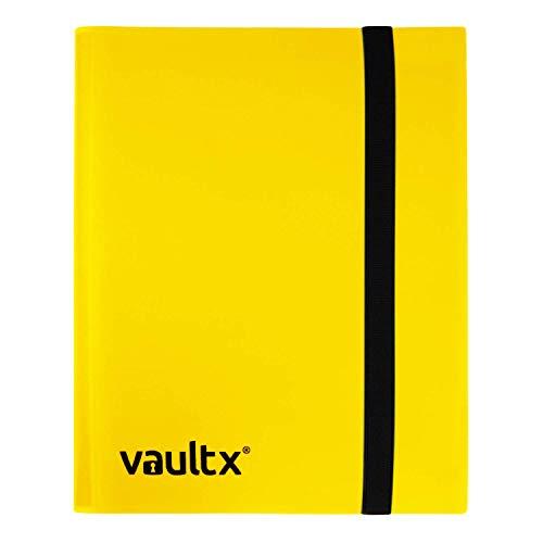 Vault X ® Sammelkarten-Album - 4 Fächer Sammelkarten Trading Cards Mappe - 160 Fächer mit Seitenöffnung für Spielkarten zum sammeln und tauschen (Gelb)