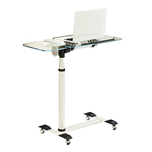 Bseack Mobile Nachttisch Höhenverstellbarer Tilt Laptop-Tisch Ausgeglichenes Glas Aufsatz- Faule Sofa Beistelltisch for Schlafzimmer Wohnzimmer