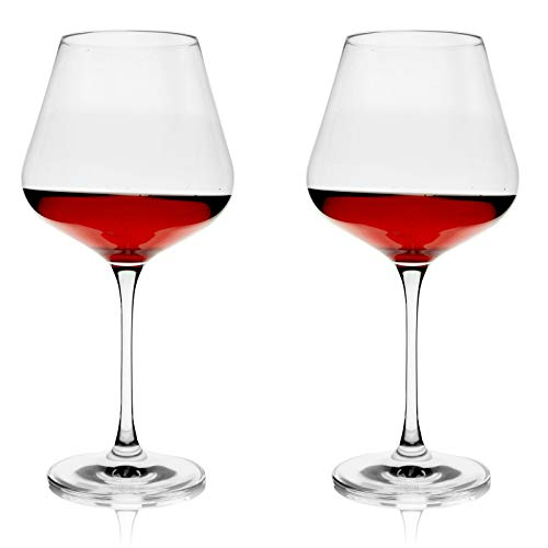 TOSH Red Wine Glasses - Set of 2 - 23 oz. Crystal Glass with Large Bowl and Long Stem. Drinking Glassware Italian Style for Wine tasting - Best gift Weeding, anniversary