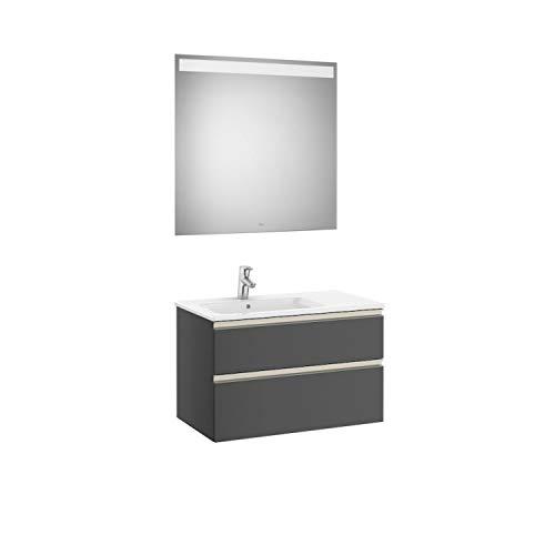 Lavabo posición izquierda + Mueble base de dos cajones + Espejo led, pack The Gap Roca, 80 x 46 x 53 centímetros, color antracita (Referencia: A851059153)