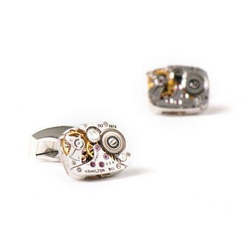 Un par de mangas – Botón de pulsera para hombre – Mecanismo de relojes Hamilton – único y auténtico – Soportes chapados en rodio – Se envía en su caja