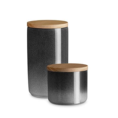 Keramik Vorratsdosen 2-tlg. Set mit Holzdeckel Grau, Kautschukholz-Deckel, Aufbewahrungsdosen, Frischhaltedosen - Misty Cliff