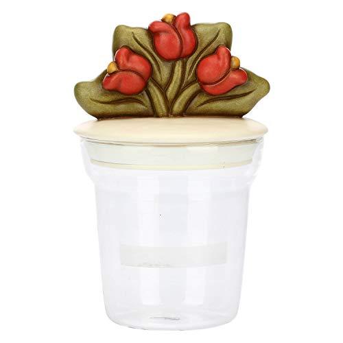 THUN ® - Barattolo - Vetro - Country - Grande con Tulipani - ø 13 cm; 13 cm h; Tappo ø 11,5 cm; 10 cm h