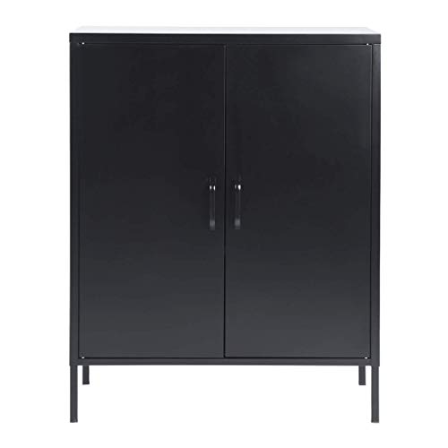 Gabinete de almacenamiento de metal organizador armario de cocina de pie 3 estantes ajustables alturas disponibles y puerta de doble persiana para sala de estar baño oficina negro 80 x 40 x 102 cm