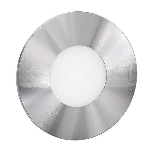 ledscom.de LED Treppen-Licht FEX Wand-Einbauleuchte, rund, 8,5cm Ø, 230V, warmweiß