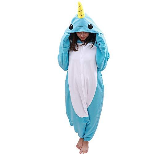 Adult Narwhal Onesie Animal Pajamas-Plush One Piece Halloween Cosplay Costume (X-Large, Blue)