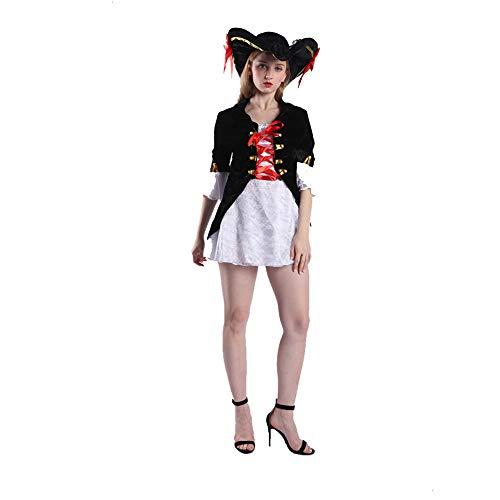 AIni Damen Piraten Kostüm Fluch der Karibik Minikleid Halloween Kostüme, Kostüm Cosplay Halloween Party Lustiges Outfit für Erwachsene-3