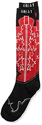 Ariat Women's Over The Calf Boot Novelty Sock, black/red, One Size