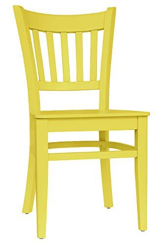 Set 2 Stühle Stuhl Esszimmerstuhl Buche massiv gelb lackiert »T002«