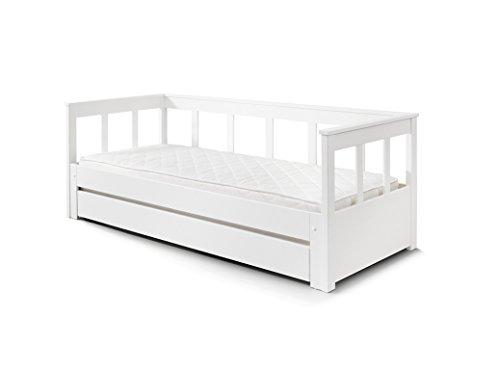 Vipack Auszug und Einer Liegefläche 90 x 200, erweiterbar auf 180 x 200 cm, Bettschublade inklusive Funktionsbett, Holz, weiß, 100 x 208 x 80 cm