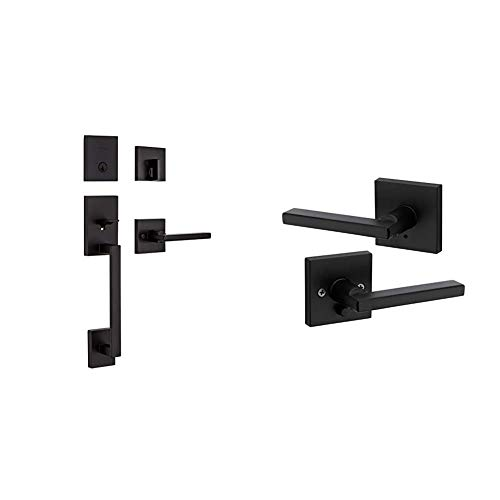 Kwikset 98180-020 San Clemente Single Cylinder Low Profile Front Lock Handleset, Iron Black & 91550-029 Halifax Door Handle Lever with Modern Contemporary Slim Square Design for Home Bedroom