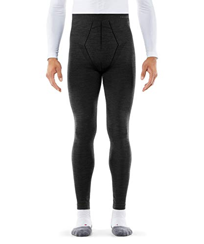 FALKE Herren Long Tights Wool Tech, Leggings mit Merinowolle, atmungsaktive Funktionswäsche zum Skifahren, Schneewandern, Sport, 1 Paar, Schwarz (Black 3000), Größe: M